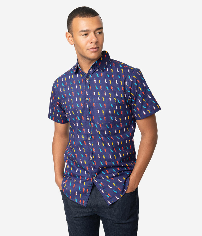Navy Blue & Multicolor Lightning Bolt Print Button Up Cotton Mens Shirt
