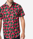Green & Pink Watermelon Print Button Up Cotton Mens Shirt