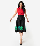 Collectif Black & Green Tropical Palm Leaf Cotton High Waist Swing Skirt