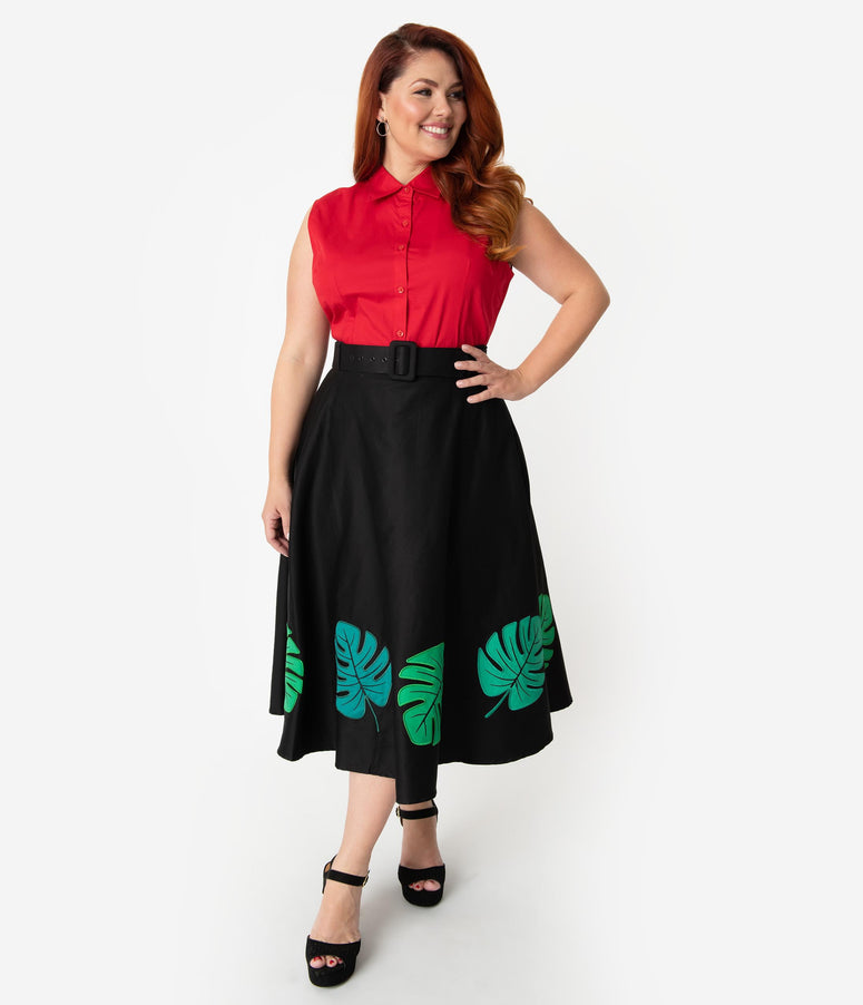0a2eaccb1ee Collectif Plus Size Black   Green Tropical Palm Leaf Cotton High Waist  Swing Skirt