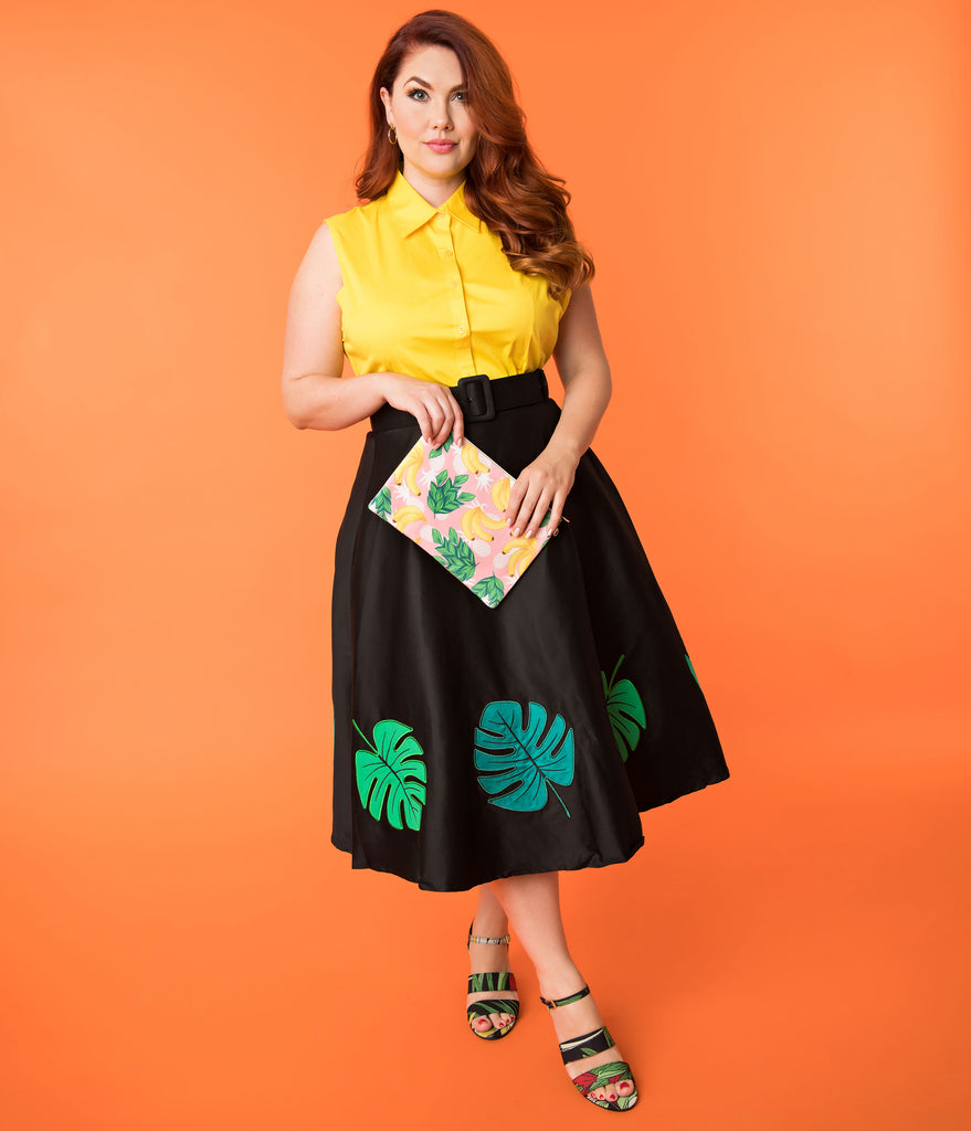 Collectif Plus Size Black & Green Tropical Palm Leaf Cotton High Waist Swing Skirt