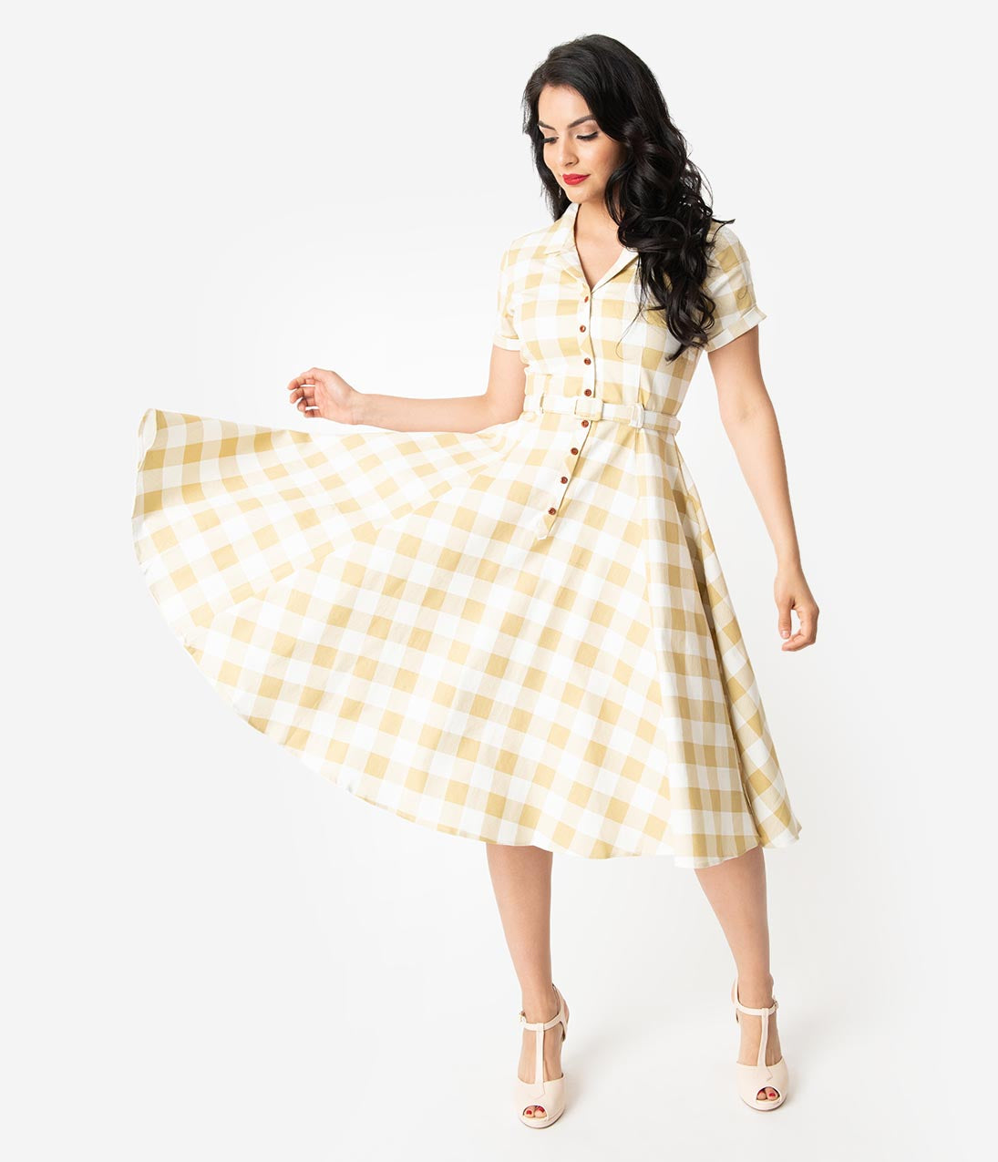 Fifties Dresses : 1950s Style Swing to Wiggle Dresses Collectif 1950S Beige  Ivory Gingham Check Caterina Swing Dress $78.00 AT vintagedancer.com