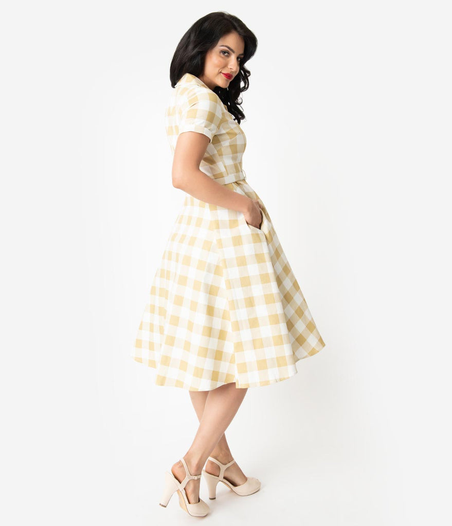0cb67b10260f ... Collectif 1950s Beige   Ivory Gingham Check Caterina Swing Dress ...