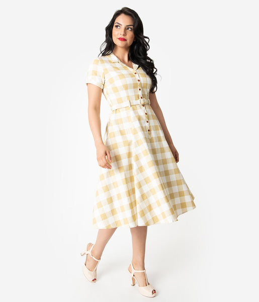 e956040116e2d Collectif 1950s Beige & Ivory Gingham Check Caterina Swing Dress – Unique  Vintage