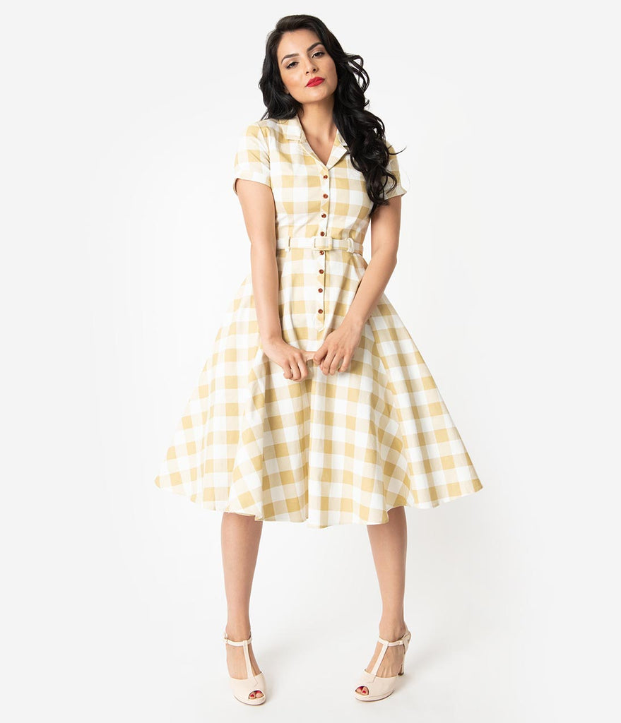 e2581eb071e8 Collectif 1950s Beige   Ivory Gingham Check Caterina Swing Dress ...