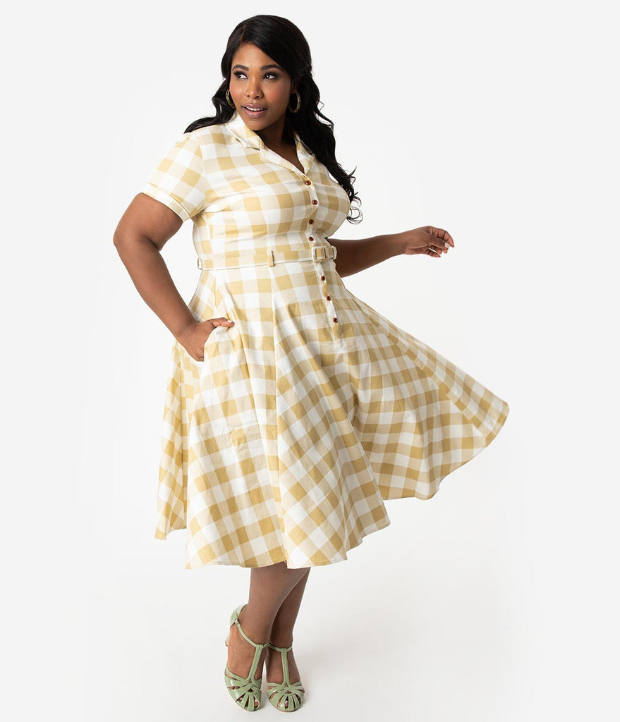 2f6477443795 Collectif Plus Size 1950s Beige   Ivory Gingham Check Caterina Swing D –  Unique Vintage