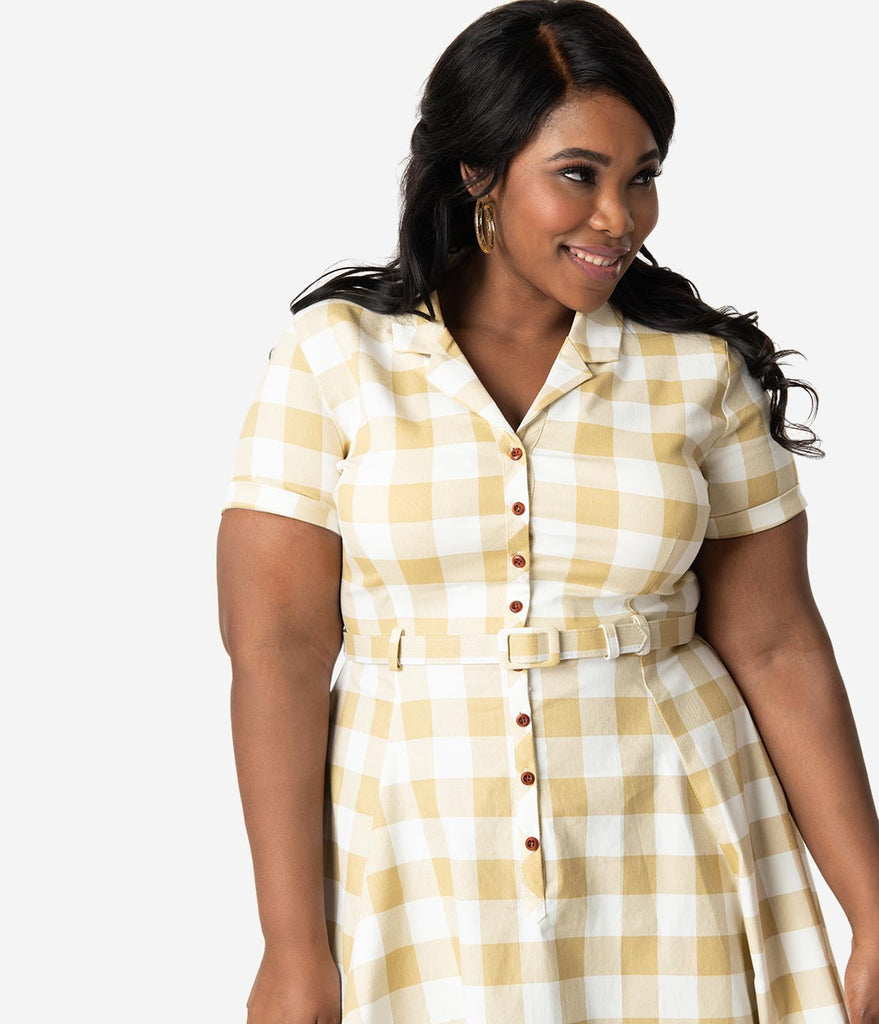 ce89ca34aa99 ... Collectif Plus Size 1950s Beige   Ivory Gingham Check Caterina Swing  Dress ...
