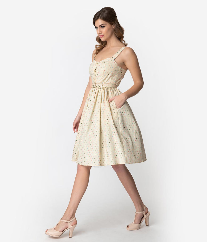 Collectif 1950s Cream & Multicolor Polka Dots Cotton Jemima Swing Dress