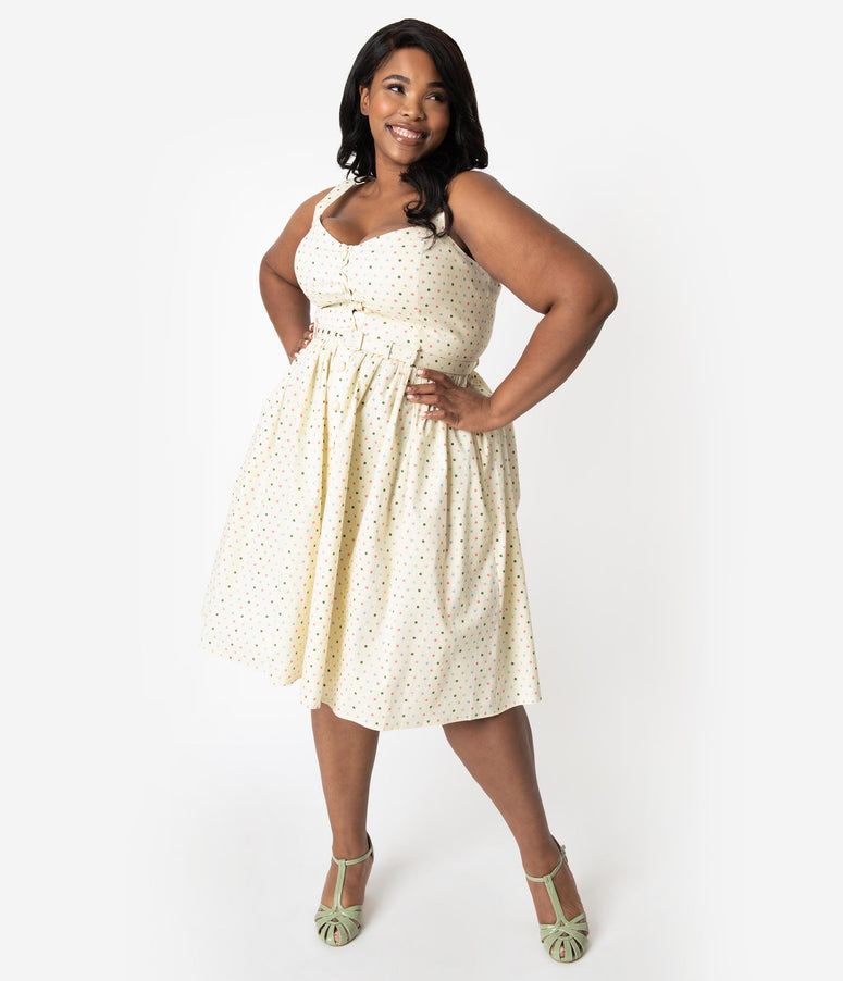 Collectif Plus Size 1950s Cream & Multicolor Polka Dots Cotton Jemima Swing Dress