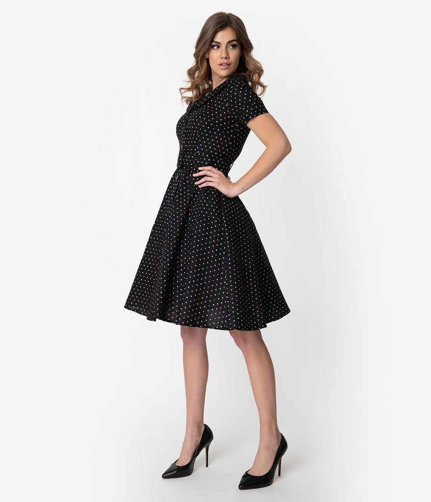 303dd921c28a Collectif 1950s Black   Multicolor Polka Dots Cotton Brette Swing Dres –  Unique Vintage