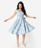 Retro Style Light Blue & Ivory Dainty Floral Cap Sleeve Anna Swing Dress