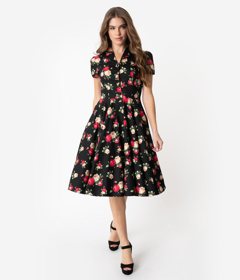 1950s Style Black Cotton Red & Ivory Rose Print Mona Swing Dress