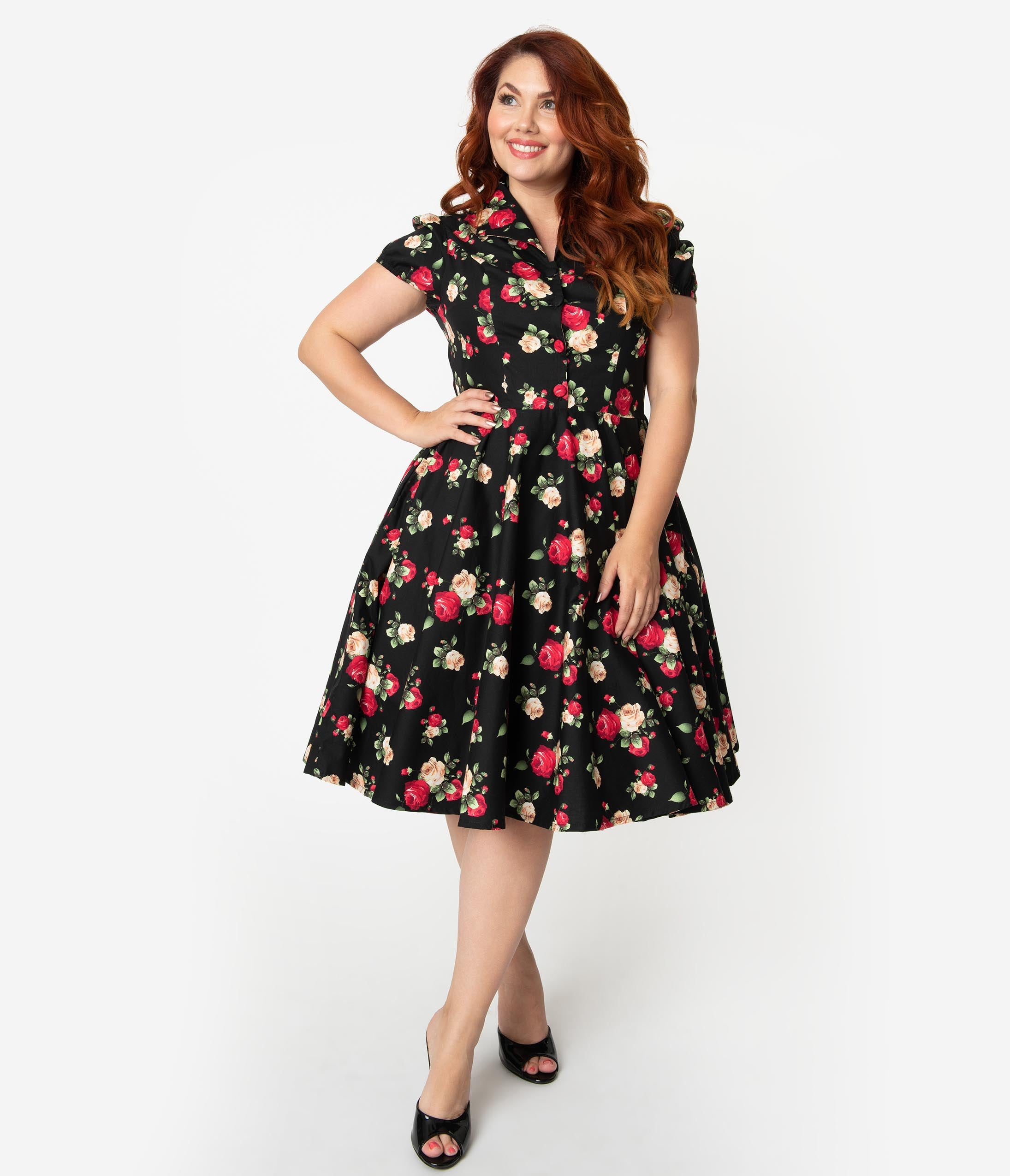 2481cff1e0ee1 Plus Size 1950s Style Black Cotton Red & Ivory Rose Print Mona Swing Dress