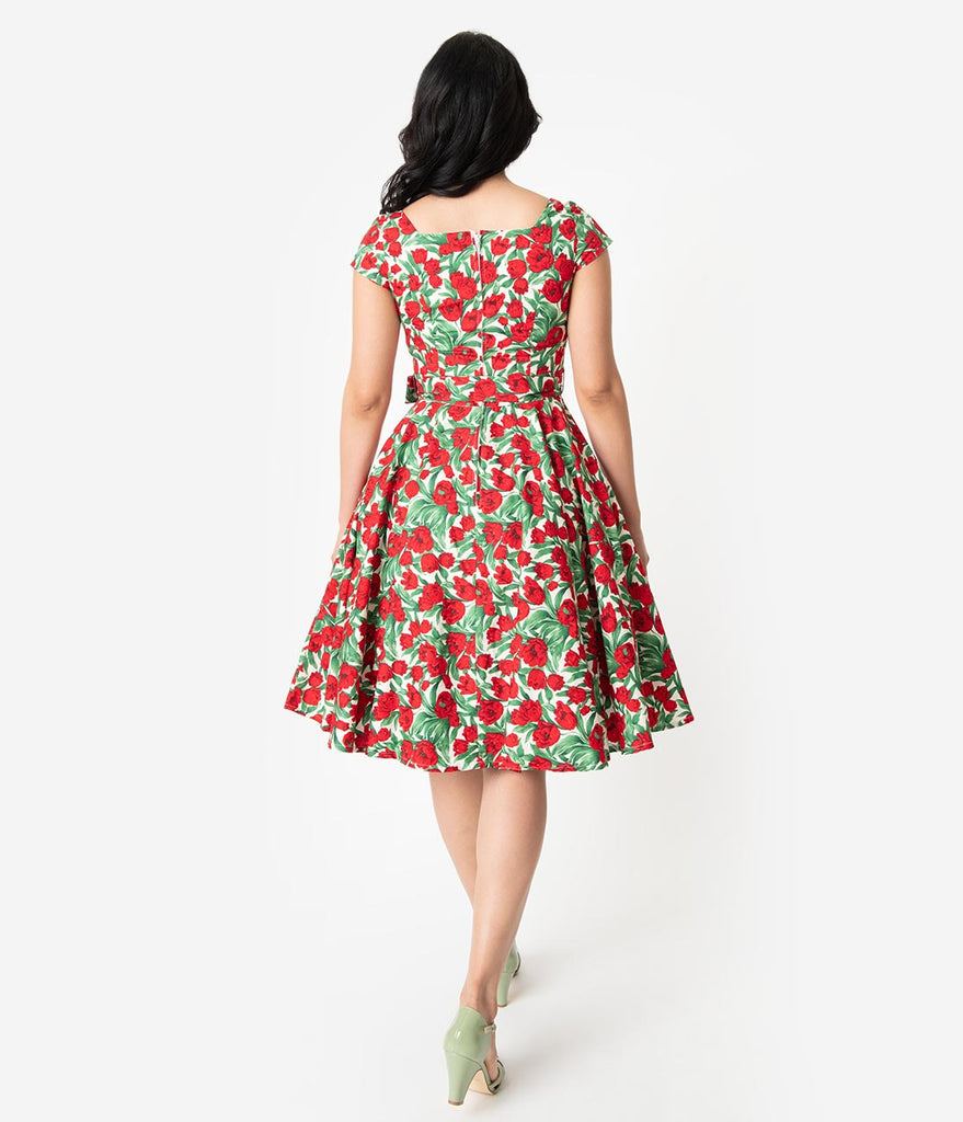 Retro Style Red Tulip Floral Print Cap Sleeve Anna Swing Dress