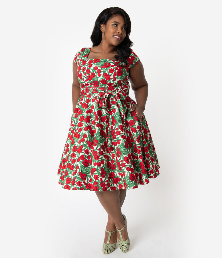 Plus Size Retro Style Red Tulip Floral Print Cap Sleeve Anna Swing Dress 84fb98a3d