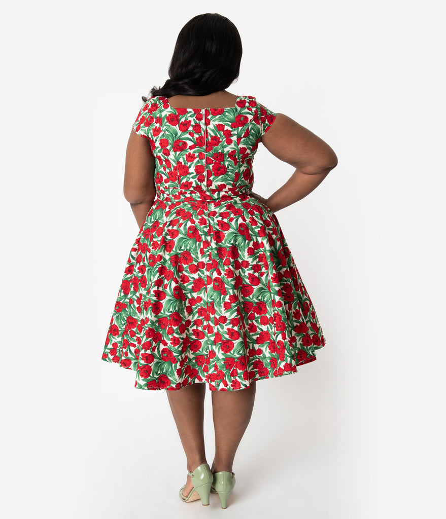 f806500fc10 ... Plus Size Retro Style Red Tulip Floral Print Cap Sleeve Anna Swing Dress  ...