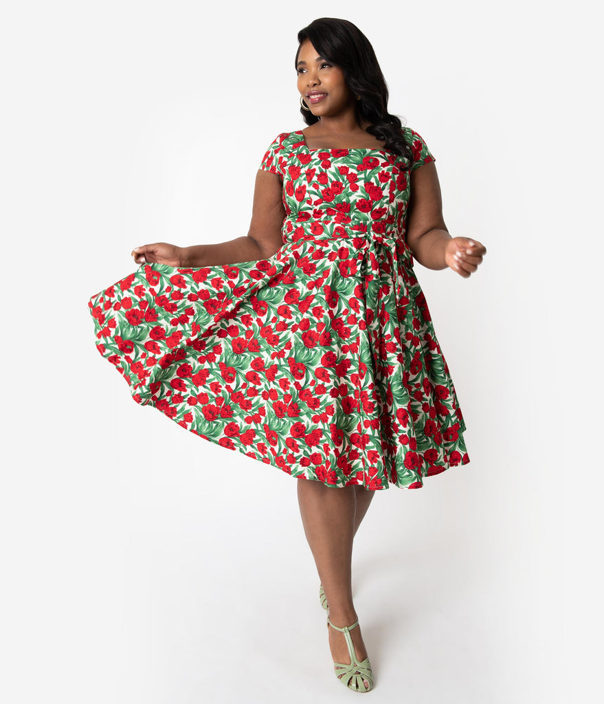 Plus Size Retro Style Red Tulip Floral Print Cap Sleeve Anna Swing Dress