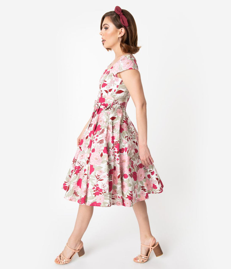 Retro Style White & Pink Floral Print Cap Sleeve Anna Swing Dress