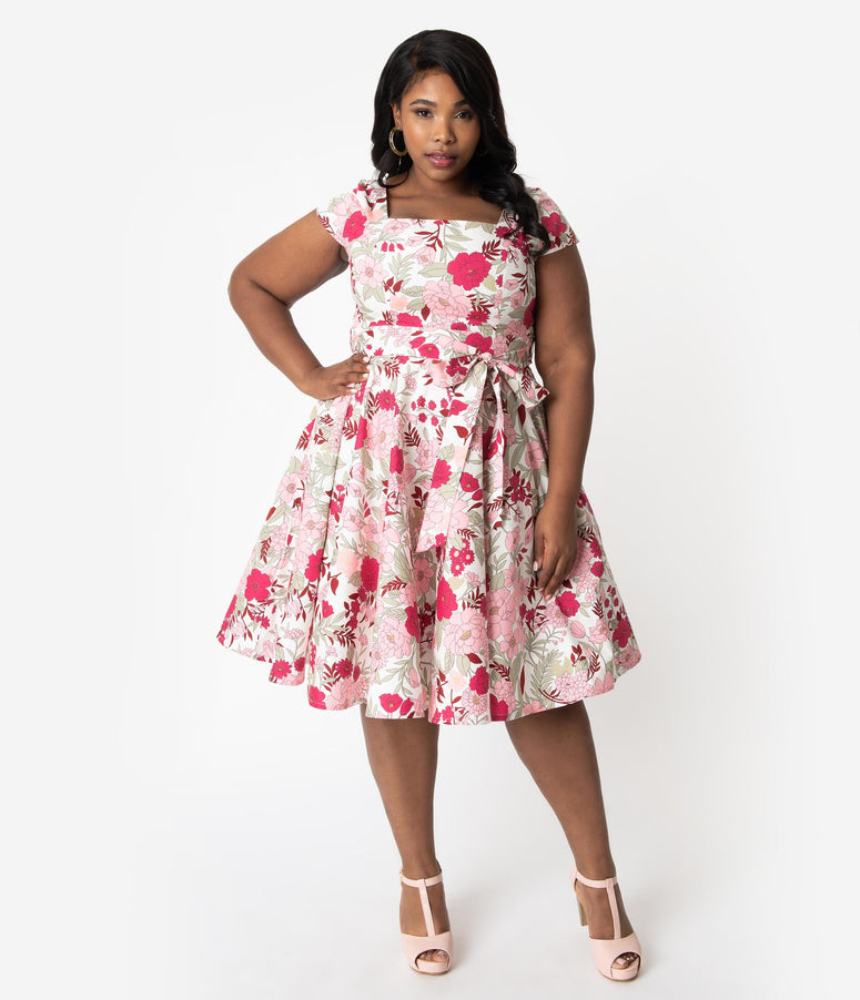 f0d98c77c23c Plus Size Retro Style White   Pink Floral Print Cap Sleeve Anna Swing Dress