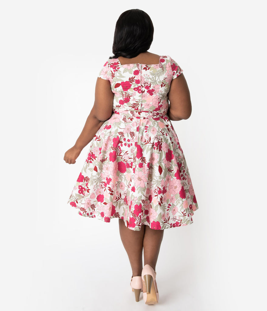 Plus Size Retro Style White & Pink Floral Print Cap Sleeve Anna Swing Dress