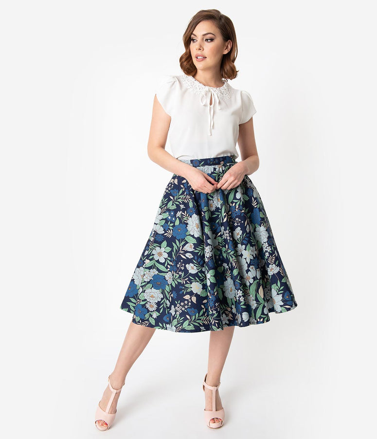 1950s Style Navy Blue Floral Cotton Swing Skirt