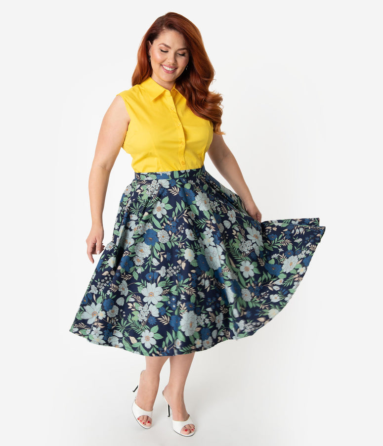 Plus Size 1950s Style Navy Blue Floral Cotton Swing Skirt