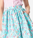 1950s Style Mint Tropical & Pink Flamingos Cotton Gathered Swing Skirt