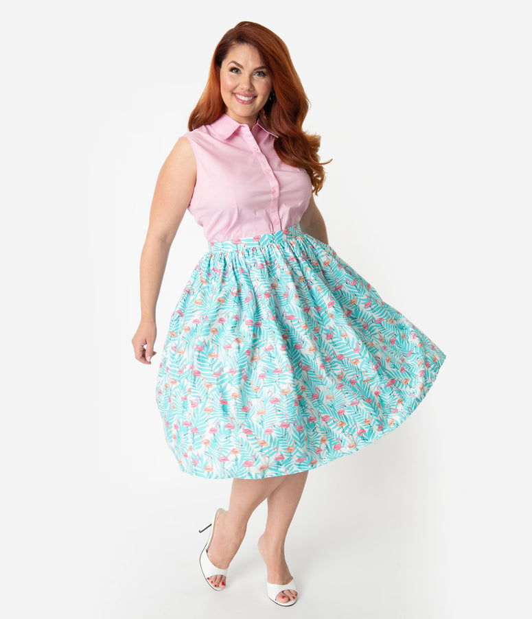 ee19d155d95 Plus Size 1950s Style Mint Tropical   Pink Flamingos Cotton Gathered Swing  Skirt