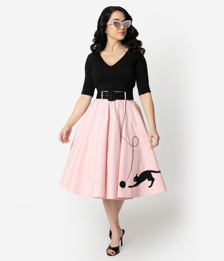 Collectif Pink Cotton Kitty Cat Swing Skirt