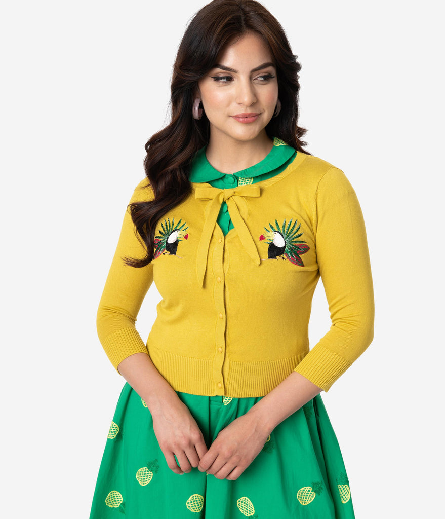 Collectif Sunny Yellow Tropical Toucan Button Up Charlene Cardigan