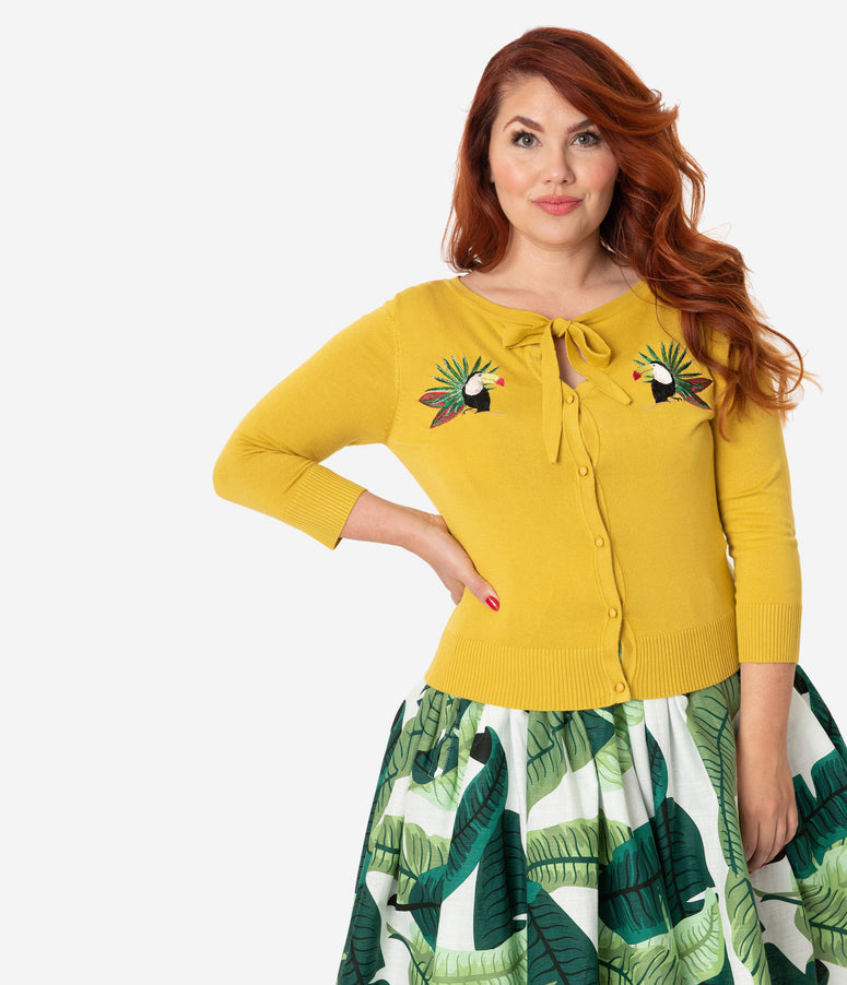 Collectif Plus Size Sunny Yellow Tropical Toucan Button Up Charlene Cardigan
