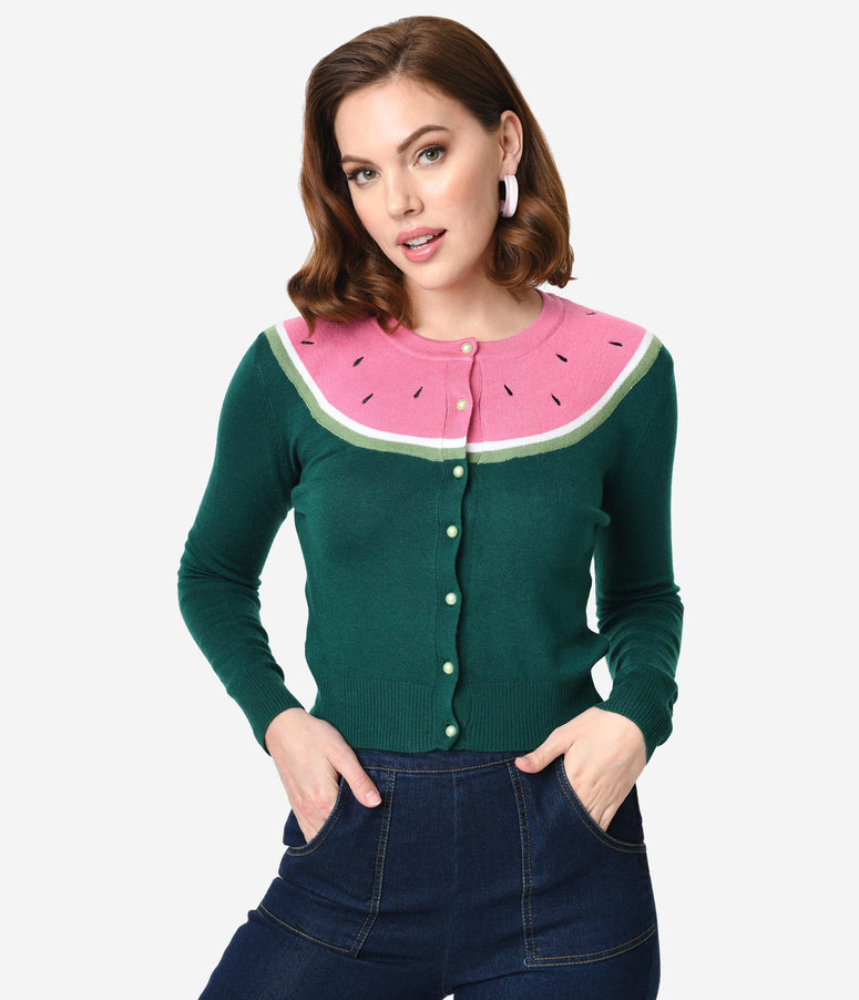 Collectif Emerald Green Knit & Pink Watermelon Long Sleeved Jessie Cardigan