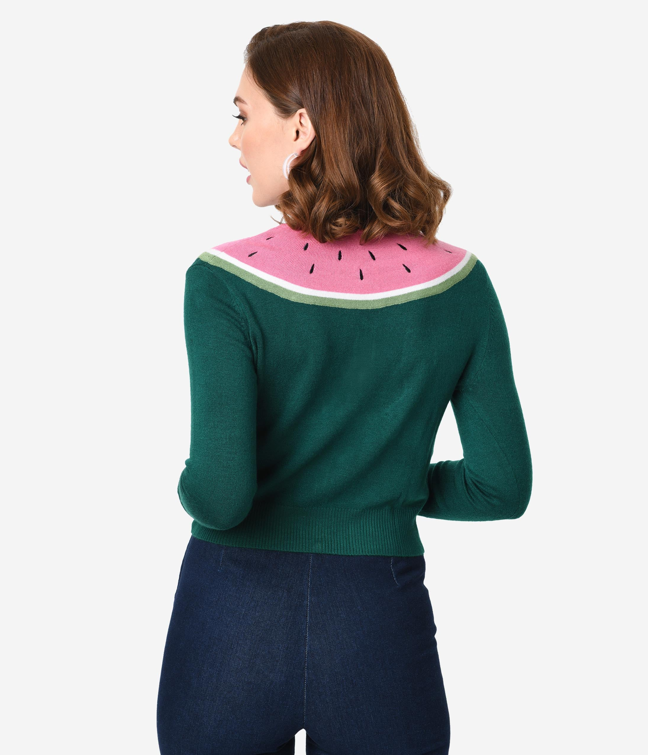 c132f012c4d Collectif Emerald Green Knit   Pink Watermelon Long Sleeved Jessie Cardigan
