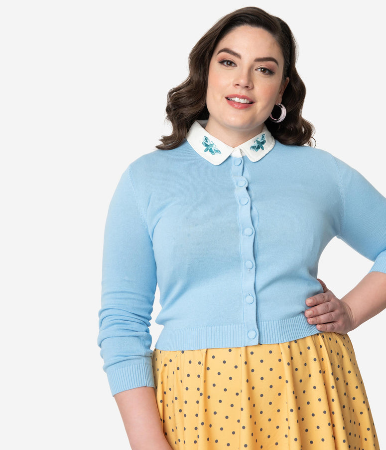 Collectif Plus Size 1950s Light Blue Moth Cotton Long Sleeve Millicent Cardigan
