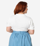 Collectif Plus Size Ivory Sweater Knit Short Sleeve Wendy Top