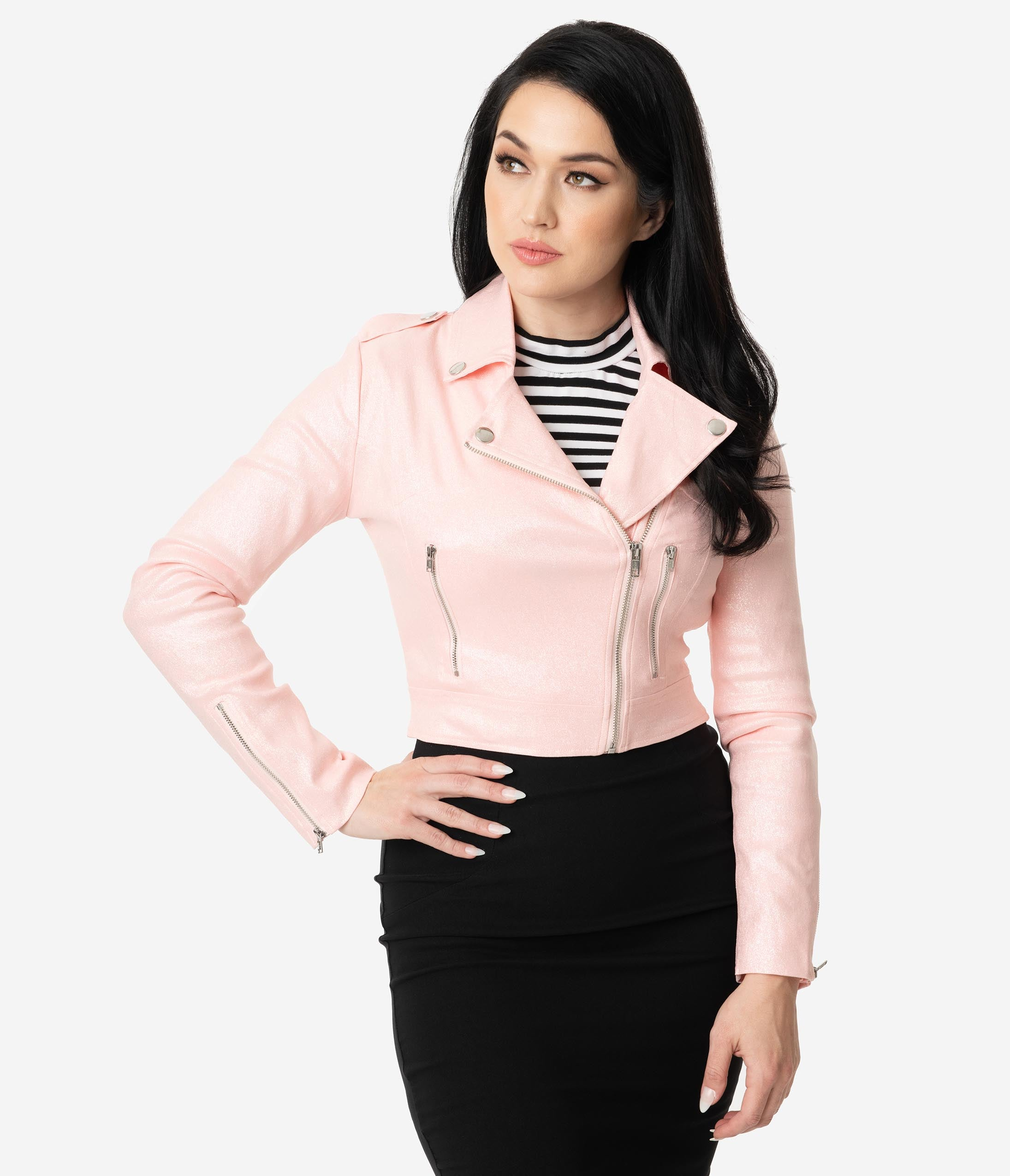 1950s Jackets, Coats, Bolero | Swing, Pin Up, Rockabilly Collectif Retro Style Pink Glitter Outlaw Biker Cropped Jacket $68.00 AT vintagedancer.com