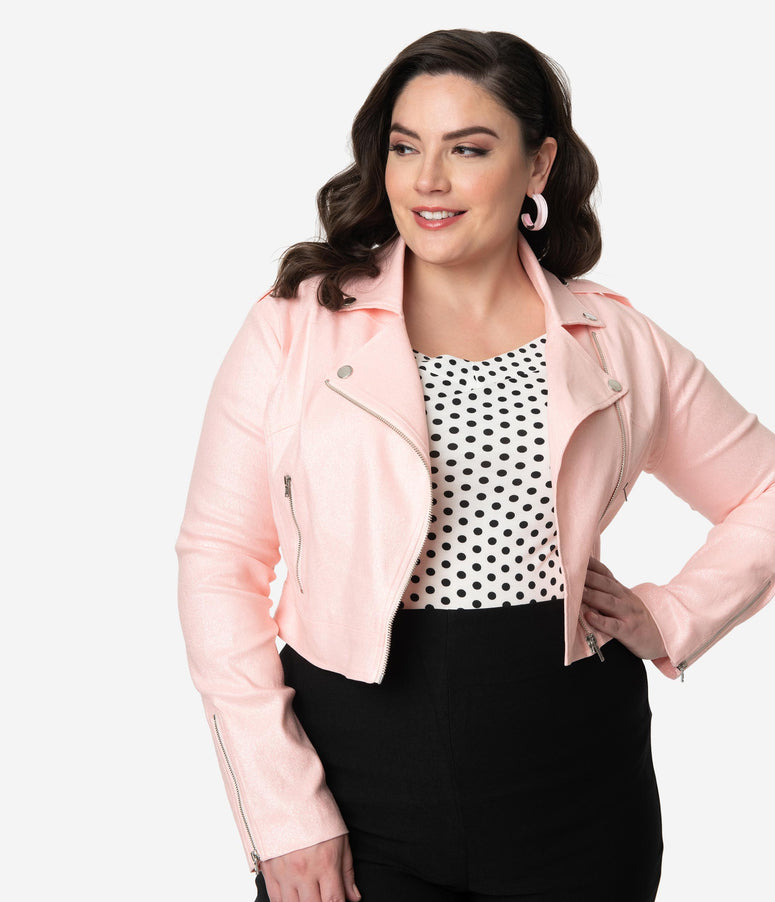 Collectif Plus Size Retro Style Pink Glitter Outlaw Biker Cropped Jacket