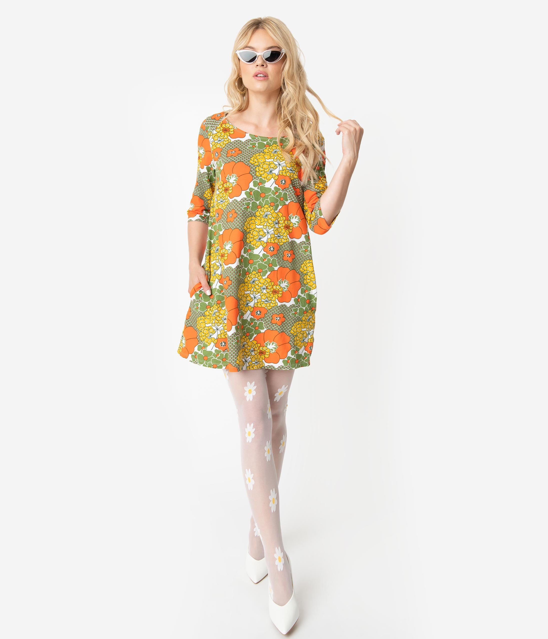 60s 70s Plus Size Dresses, Clothing, Costumes 1960S Style Olive Green  Orange Retro Floral Print Cotton Tunic Dress $58.00 AT vintagedancer.com
