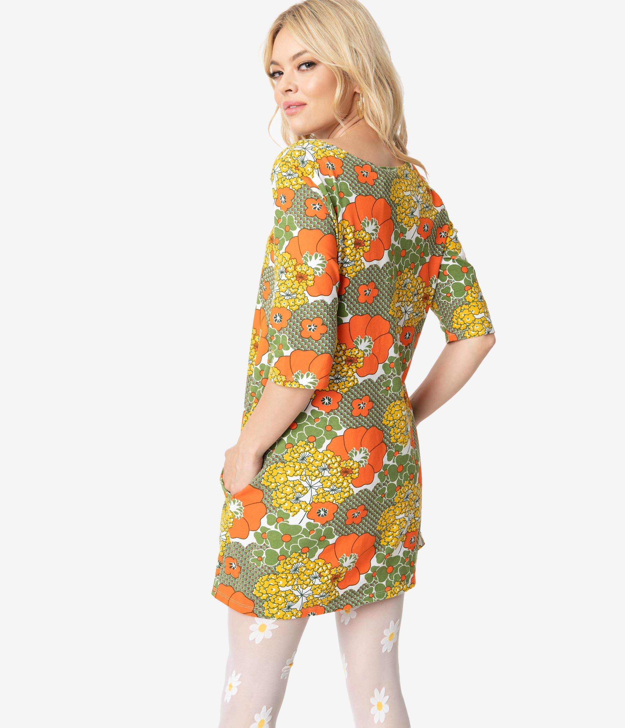 49689c6c89 1960s Style Olive Green & Orange Retro Floral Print Cotton Tunic Dress