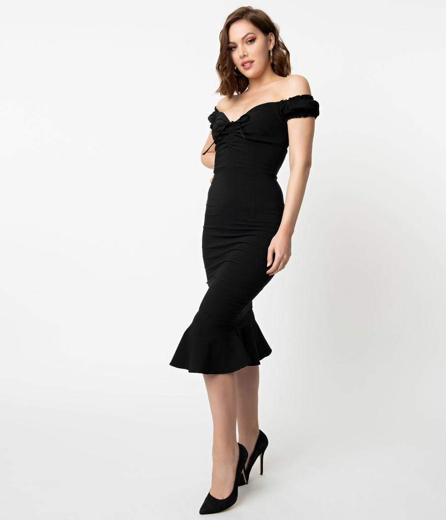 Collectif Black Stretch Off The Shoulder Sasha Fishtail Wiggle Dress
