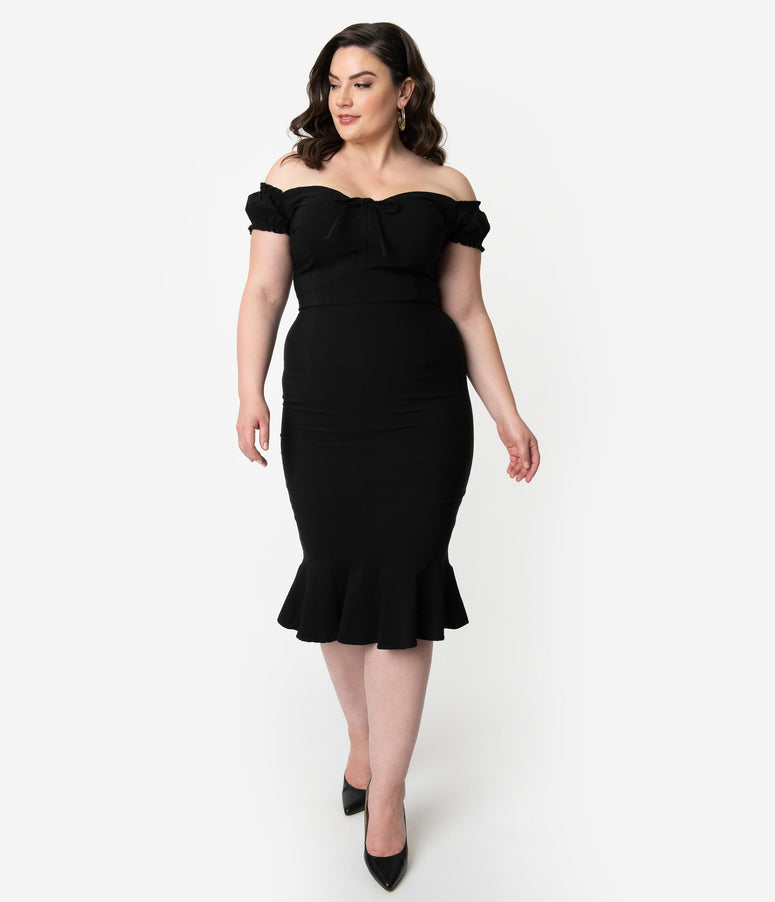 8349c243268 Collectif Plus Size Black Stretch Off The Shoulder Sasha Fishtail Wiggle  Dress