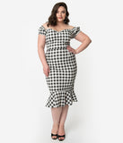 Collectif Plus Size Black & White Gingham Cotton Off The Shoulder Sasha Fishtail Wiggle Dress