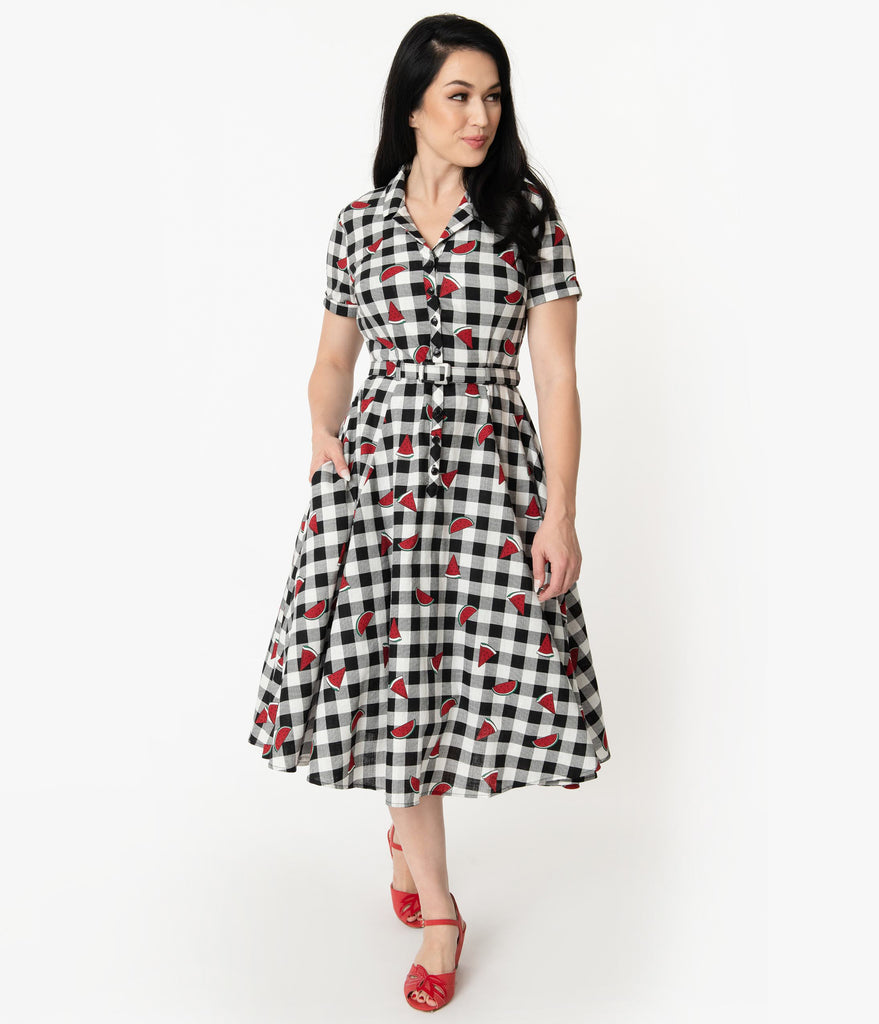 971e92927c6d2 ... Collectif 1950s Black & White Gingham Watermelon Print Caterina Swing  Dress