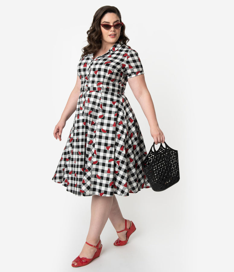 Collectif Plus Size 1950s Black & White Gingham Watermelon Print Caterina Swing Dress
