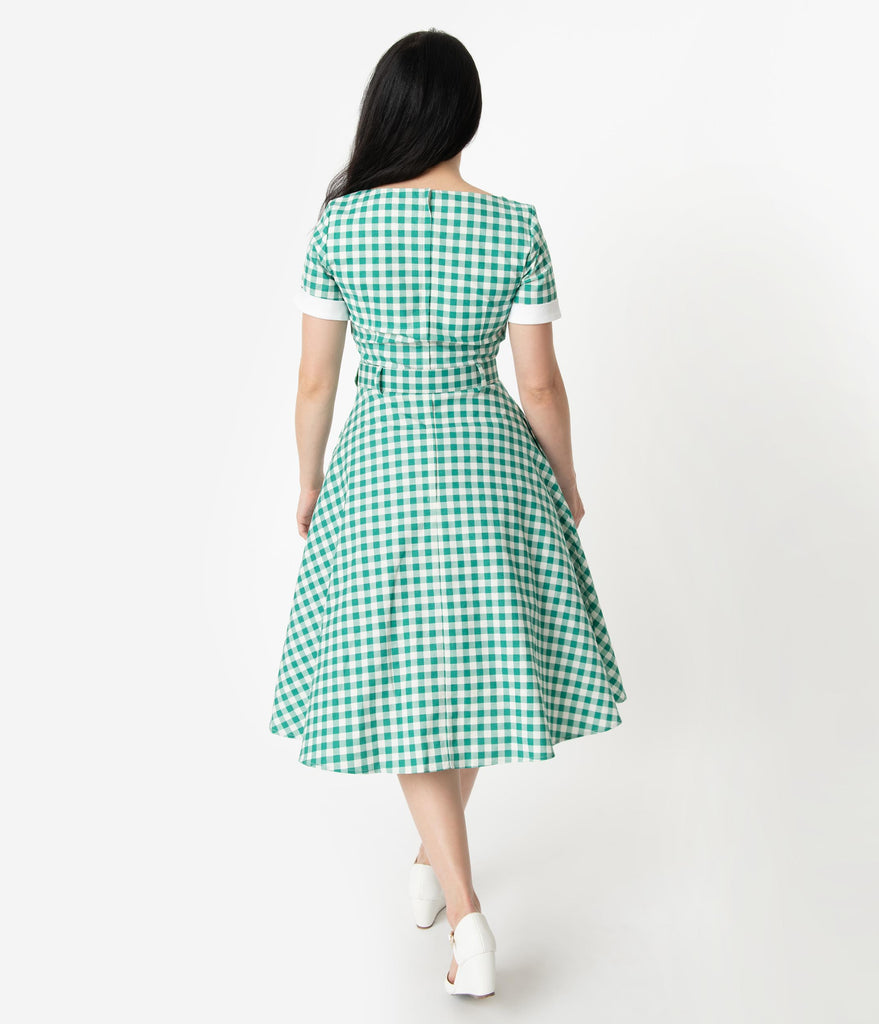 Collectif 1950s Style Green & Ivory Gingham Roberta Swing Dress