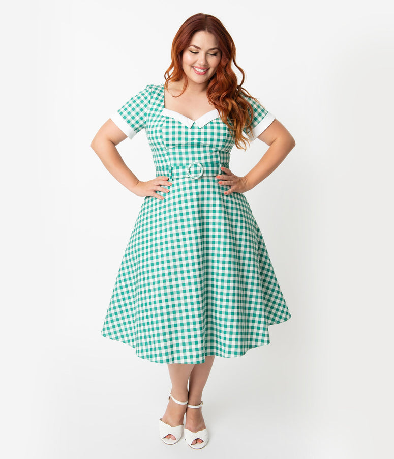 3bb174f77ce Collectif Plus Size 1950s Style Green   Ivory Gingham Roberta Swing Dress