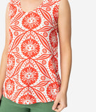 Red & White Cotton Happy Sunflower Floral Print Tank Top