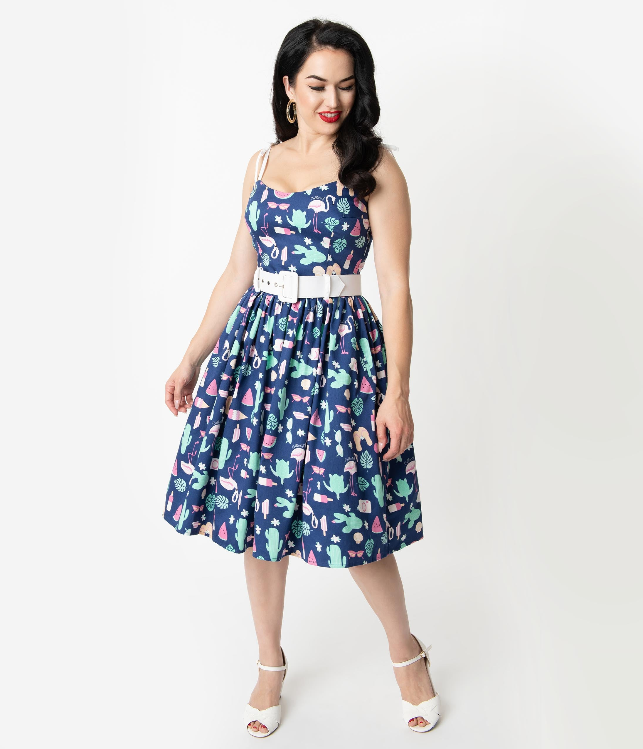 New Fifties Dresses | 50s Inspired Dresses Collectif 1950S Style Navy Blue Summer Flamingo Print Jade Swing Dress $78.00 AT vintagedancer.com