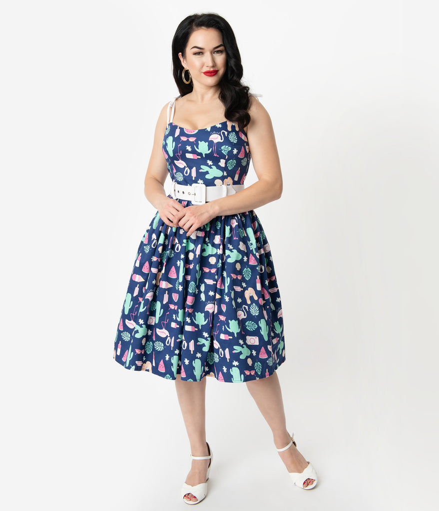 Collectif 1950s Style Navy Blue Summer Flamingo Print Jade Swing Dress