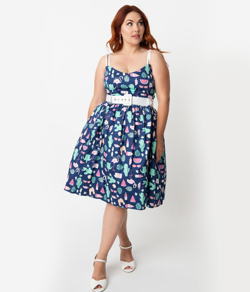 7f3e68c0fdd Collectif Plus Size 1950s Style Navy Blue Summer Flamingo Print Jade S –  Unique Vintage
